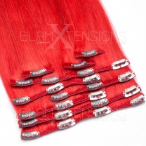Clip In Extensions 100 Gramm glatt Remy Echthaar Farbnummer #Red