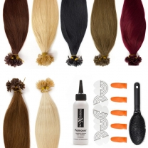 Das Billd zeigt 7 Keratin Bonding Extensions in verschiedenen Haarfarben nebeneinander mit gratis Zubehör angereight