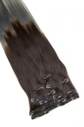 Clip In Extensions 7-teilig #O-1b/dark grey - Naturschwarz - Dunkelgrau