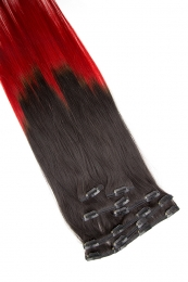 Clip In Extensions 7-teilig 55 cm #O-1b/red - Naturschwarz - Rot