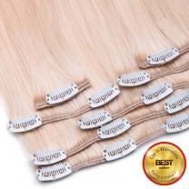 Das Bild zeigt unsere Clip In Extensions 70 Gramm 7-teilig in blond mit 16 fest angenähten Clips mit best seller logo