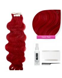 Tape In Extensions Echthaar Haarverlängerung gewellt #dark red rot dunkelrot