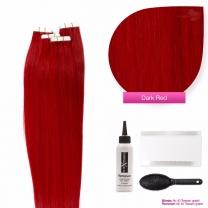 Tape In Extensions Echthaar Haarverlängerung #Dunkelrot