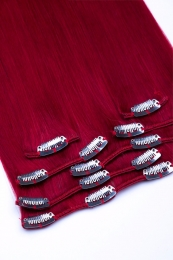 Clip In Extensions Echthaar 7-teilig 100g #darkred - Dunkelrot