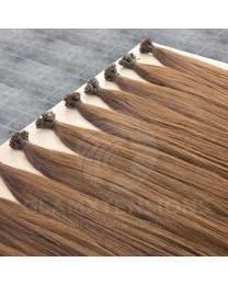 Schwarze Remy Echthaar Flachbondings in 50cm und 1 Gramm dicken Strähnen in der Farbe #12 Hellbraun