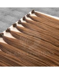 Schwarze Remy Echthaar Flachbondings in 50cm und 1 Gramm dicken Strähnen in der Farbe #1b Naturschwarz