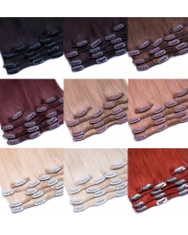 Clip in Extensions Echthaar in vielen verschiedenen Farben, 9 Haarfarben hier abgebildet