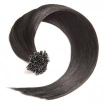 Dieses Bild zeigt die GlamXtensions Bonding Keratin Extensions Haarverlängerung in der Farbe #01 Schwarz in Großansicht. Die echthaar Extensions Bondings haben ein Gewicht von 0,5g.