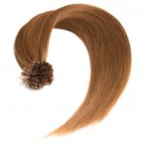 Dieses Bild zeigt die GlamXtensions Bonding Keratin Extensions Haarverlängerung in der Farbe #12 Helles braun in Großansicht. Die echthaar Extensions Bondings haben ein Gewicht von 0,5g.