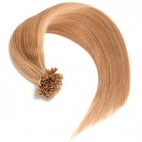 Dieses Bild zeigt die GlamXtensions Bonding Keratin Extensions Haarverlängerung in der Farbe #18 Dunkelblond in Großansicht. Die echthaar Extensions Bondings haben ein Gewicht von 0,5g.