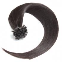 Dieses Bild zeigt die GlamXtensions Bonding Keratin Extensions Haarverlängerung in der Farbe #1b Naturschwarz in Großansicht. Die echthaar Extensions Bondings haben ein Gewicht von 0,5g.