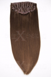 Echthaar Perücken Halbperücken Haarteile 35cm #6 Mittelbraun Haarverlängerung mit Clip In