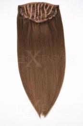 Echthaar Perücken Halbperücken Haarteile 35cm #8 Goldbraun Haarverlängerung mit Clip In
