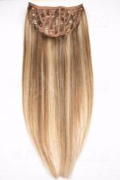 Echthaar Perücken Halbperücken Haarteile 50cm #12/613 Hellbraun - Helllichtblond Haarverlängerung mit Clip In