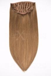 Dieses Bild zeigt die 1-teilige GlamXtensions Half-wig Extensions Haarverlängerung mit 10 Clips in der Farbe #12 Hellbraun in Großansicht