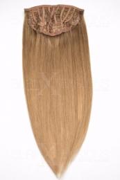 Echthaar Perücken Halbperücken Haarteile 35cm #18 Dunkelblond Haarverlängerung mit Clip In