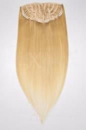 Echthaar Perücken Halbperücken Haarteile 35cm #22 Hellblond Haarverlängerung mit Clip In