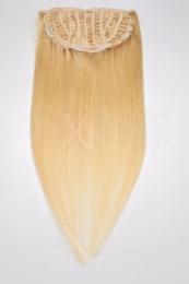 Echthaar Perücken Halbperücken Haarteile 50cm #24 Blond Haarverlängerung mit Clip In