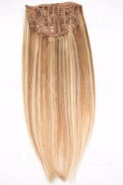 Echthaar Perücken Halbperücken Haarteile 35cm #27/613 Honigblond - Helllichtblond Haarverlängerung mit Clip In