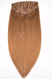 Echthaar Perücken Halbperücken Haarteile 35cm #27 Honigblond Haarverlängerung mit Clip In