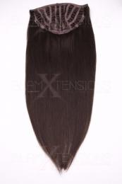 Echthaar Perücken Halbperücken Haarteile 35cm #2 Dunkelbraun Haarverlängerung mit Clip In