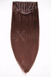 Dieses Bild zeigt die 1-teilige GlamXtensions Half-wig Extensions Haarverlängerung mit 10 Clips in der Farbe #33 Kastanie in Großansicht