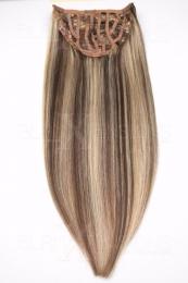 Dieses Bild zeigt die 1-teilige GlamXtensions Half-wig Extensions Haarverlängerung mit 10 Clips in der Farbe #04/613 Schokobraun - Helllichtblond in Großansicht