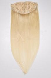 Dieses Bild zeigt die 1-teilige GlamXtensions Half-wig Extensions Haarverlängerung mit 10 Clips in der Farbe #60 Weißblond in Großansicht