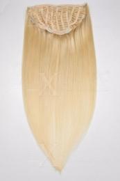 Echthaar Perücken Halbperücken Haarteile 35cm #613 Helllichtblond  Haarverlängerung mit Clip In