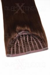Halbperücken Haarteil aus 100% Echthaar in der Haarfarbe #4 Schokobraun - Die schnellste Haarverlängerung