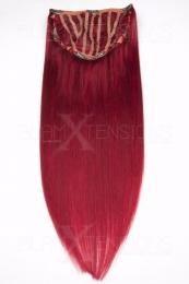 Echthaar Perücken Halbperücken Haarteile 50cm #darkred Dunkelrot Haarverlängerung mit Clip In
