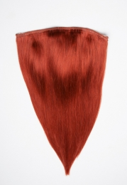 Echthaar Perücken Halbperücken Haarteile 50cm #350 Kupfer Haarverlängerung mit Clip In