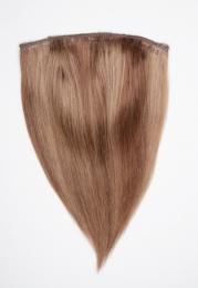 Dieses Bild zeigt die 1-teilige GlamXtensions Half-wig Extensions Haarverlängerung mit 10 Clips in der Farbe #14/06 Hazelblond - Mittelbraun in Großansicht