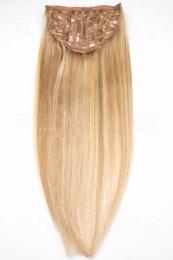 Echthaar Perücken Halbperücken Haarteile 35cm #18/613 Dunkelblond - Helllichtblond Haarverlängerung mit Clip In