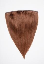 Echthaar Perücken Halbperücken Haarteile 50cm #30 Rotbraun Haarverlängerung mit Clip In