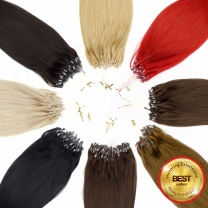 Das Bild zeigt 8 unserer Microring Extensions mit 25 Strähnen pro Packung im Kreis angeordnet von Schwarz über Rot bis blond in 0,5 oder 1 Gramm mit best seller logo