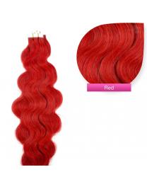 Tape In Extensions Echthaar Haarverlängerung gewellt red rot