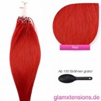 Dieses Bild zeigt die GlamXtensions Microring Extensions Haarverlängerung in der Farbe #Rot in Großansicht. Die echthaar Extensions Bondings haben ein Gewicht von 1 Gramm