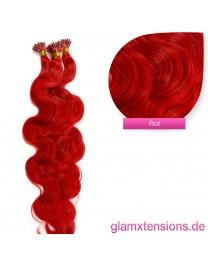 Microring I-Tip Extensions 100% Echthaar 1g #red rot Haarverlängerung gewellt