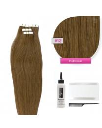 Tape In Extensions Echthaar Haarverlängerung #12 Hellbraun