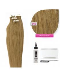 Tape In Echthaar Extensions Frontbild in der Farbe #18 Dunkelblond in den Haarlängen 35cm 45cm 50cm oder 60cm verfügbar,  Haarverlängerung tapes mit Zubehör Bürste Remover und Klebestreifen