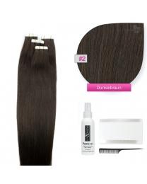 Tape In Echthaar Extensions Haarverlängerung Frontbild in der Haarfarbe #02 dunkelbraun