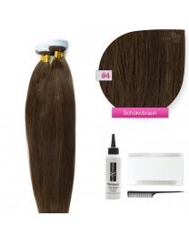 Tape In Echthaar Extensions Haarverlängerung Frontbild in der Haarfarbe #04 Schokobraun