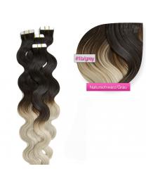 Tape In Extensions Echthaar Haarverlängerung gewellt ombre  #1b / grau