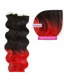 Tape In Echthaar Extensions Frontbild in der Farbe #1b/red gewellt in den Haarlängen 50cm oder 60cm verfügbar, Haarverlängerung tapes mit Zubehör Bürste Remover und Klebestreifen