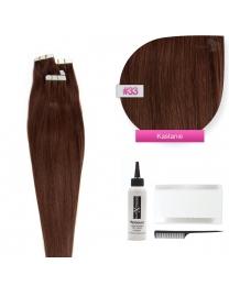 Tape In Echthaar Extensions Frontbild in der Farbe #33 Kastanie in der Haarlänge 50cm verfügbar, Haarverlängerung tapes mit Zubehör Bürste Remover und Klebestreifen
