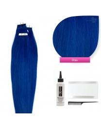 Tape In Extensions Echthaar Haarverlängerung #blau 50cm