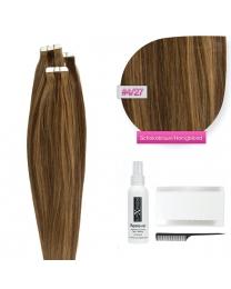Tape In Extensions Echthaar Haarverlängerung #04/27 Schokobraun - Honigblond 50 cm