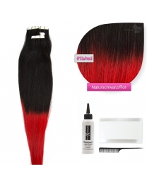 Tape In Extensions Echthaar Haarverlängerung # O-1b/red Naturschwarz - Rot 50cm
