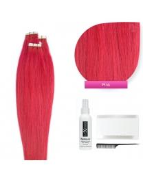 Tape In Extensions Echthaar Haarverlängerung, #pink 50cm